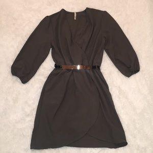 NWOT Olive Green Belted Wrap Dress, Medium